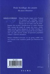 Petits Sortileges Des Amants - 4ème de couverture - Format classique