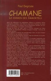 Chamane, le chemin des immortels - 4ème de couverture - Format classique