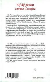 Kif-Kif Piment Comme Il Respire ; Souvenirs D'Une Enfance Algerienne Pas Triste - 4ème de couverture - Format classique