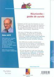 Reunionite : Guide De Survie. Pour Ameliorer La Qualite Des Reunions - 4ème de couverture - Format classique