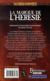 La marque de l'hérésie - 4ème de couverture - Format classique