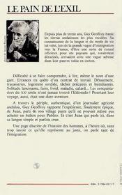 Pain De L'Exil : Un Journa-Lier Andalou En France - 4ème de couverture - Format classique