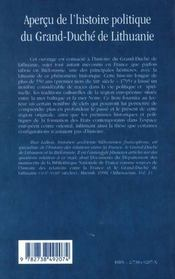 Apercu De L'Histoire Politique Du Grand-Duche De Lithuanie - 4ème de couverture - Format classique