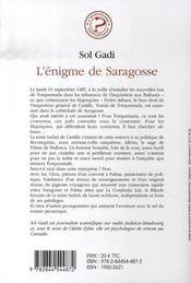 L'énigme de saragosse - 4ème de couverture - Format classique