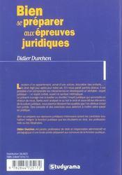 Bien Se Preparer Aux Epreuves Juridiques - 4ème de couverture - Format classique