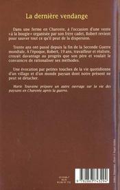 La Derniere Vendange - 4ème de couverture - Format classique