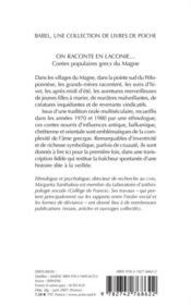 On raconte en laconie... contes populaires grecs du magne - 4ème de couverture - Format classique