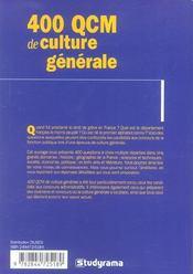 400 qcm de culture generale ; special concours de la fonction publique - 4ème de couverture - Format classique