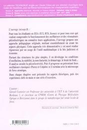 Electronique Les Oscillateurs En Electronique De La Piezoelectricite Aux Oscillateurs A Quartz - 4ème de couverture - Format classique