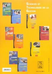 Communication et gestion des ressources humaines ; terminale stg - 4ème de couverture - Format classique