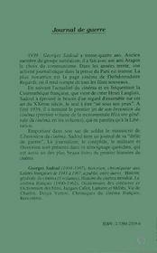 Journal De Guerre - 4ème de couverture - Format classique