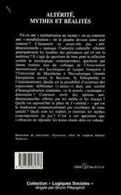 Alterite, Mythes Et Realites. Colloque International De Sociologie - 4ème de couverture - Format classique