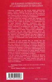 Les Echanges Internationaux Et La Comparaison En Education ; Pratiques Et Enjeux - 4ème de couverture - Format classique
