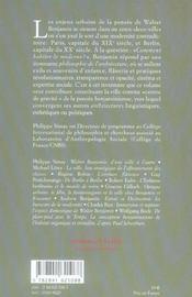 Capitales De La Modernite ; Walter Benjamin Et La Ville - 4ème de couverture - Format classique