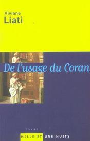 De L'Usage Du Coran - Intérieur - Format classique