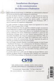 Installations Electriques Et De Communication Des Batiments D'Habitation - 4ème de couverture - Format classique