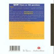 Qcm l'euro en 188 questions - 4ème de couverture - Format classique