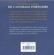 De l'ouvrage portuaire - 4ème de couverture - Format classique