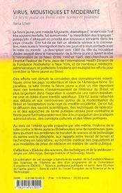 Virus moustiques et modernite ; la fievre jaune au bresil entre science et politique - 4ème de couverture - Format classique