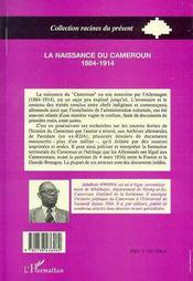 La Naissance Du Cameroun 1884-1914 - 4ème de couverture - Format classique