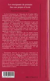 Les Enseignants Du Primaire Face Aux Projets D'Ecole ; Perspectives Psychosociologiques - 4ème de couverture - Format classique