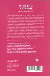 Petites betes a six pattes - 4ème de couverture - Format classique