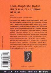 Nietzsche Et Le Demon De Midi - 4ème de couverture - Format classique