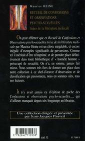 Recueil de confessions et observations psycho-sexuelles - 4ème de couverture - Format classique