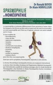 Spasmophilie et homéopathie - 4ème de couverture - Format classique