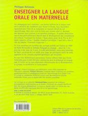 Enseigner la langue orale en maternelle - 4ème de couverture - Format classique
