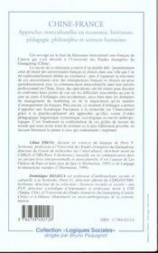 Chine-France ; Approches Interculturelles En Economie Litterature Pedagogie Philosophie Et Sciences Humaines - 4ème de couverture - Format classique