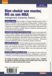 Bien choisir son master en commerce management et son mba - 4ème de couverture - Format classique