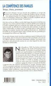 Competence Des Familles (La) - 4ème de couverture - Format classique