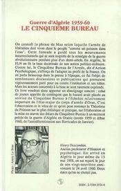 Guerre D'Algerie, 1959-1960 ; Le Cinquieme Bureau - 4ème de couverture - Format classique