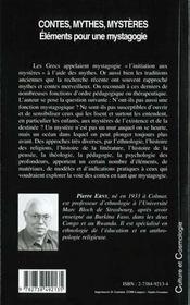 Contes Mythes Mysteres ; Elements Pour Une Mystagogie - 4ème de couverture - Format classique