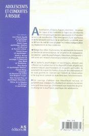 Adolescents et conduites à risque - 4ème de couverture - Format classique