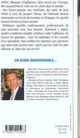 Reseaux d'influence ; edition 2001 - 4ème de couverture - Format classique