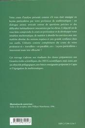 Lecons Particulieres Cours De Maths Analyse 1re Annee Mpsi-Pcsi - 4ème de couverture - Format classique