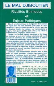 Le Mal Djiboutien ; Rivalites Ethniques Et Enjeux Politiques - 4ème de couverture - Format classique