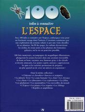 100 Infos A Connaitre ; L'Espace - 4ème de couverture - Format classique