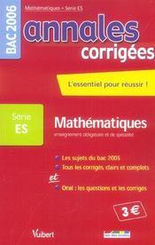 Annales Corrigees T.15 ; Enseignement Obligatoire Et Specialite (édition 2006) - Intérieur - Format classique