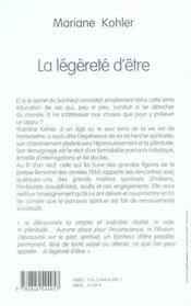 La Legerete D'Etre ; Nourritures Pour La Vie Spirituelle - 4ème de couverture - Format classique
