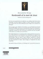 Rembrandt Et La Mort De Jesus - 4ème de couverture - Format classique