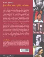 Journal de mes Algeries en France - 4ème de couverture - Format classique