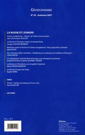 GEOECONOMIE N.43 ; la Russie et l'Europe - 4ème de couverture - Format classique