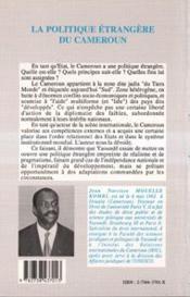 Politique Etrangere Du Cameroun - 4ème de couverture - Format classique