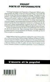 Proust, Poete Et Psychanalyste - 4ème de couverture - Format classique