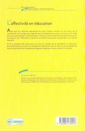 Affectivite En Education (L') - 4ème de couverture - Format classique