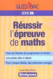 Mathématiques Terminale ES; reussir l'epreuve de maths - Couverture - Format classique