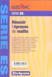 Mathématiques Terminale ES; reussir l'epreuve de maths - 4ème de couverture - Format classique